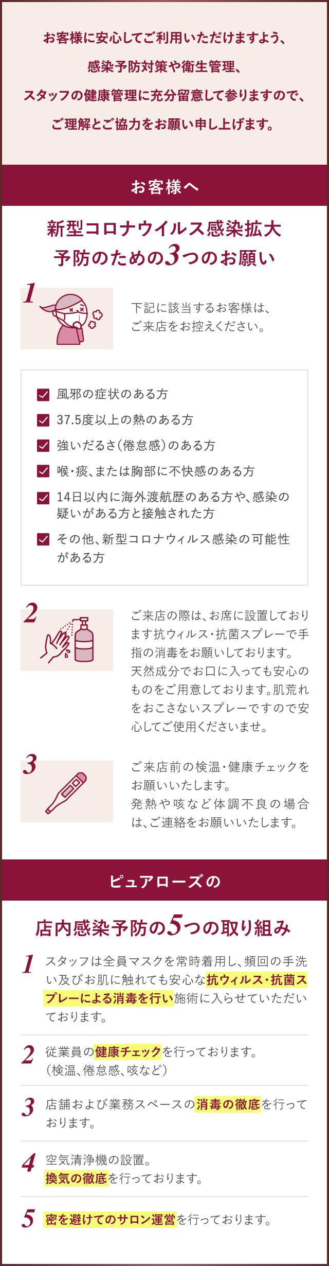 新型コロナウイルス感染拡大予防のための3つのお願い、院内感染予防の4つの取り組み